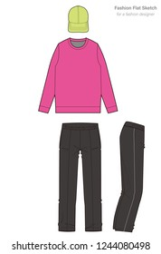 Athleisure set Fashion technical drawings vector template