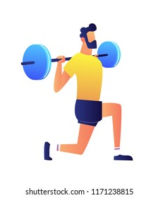 Athlet lifting barbell vector illustration. Gym workout with sport barbell, weightlifting and bodybuilding, fitness training and healthy lifestyle concept. Isolated on white background.