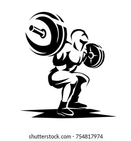 athlete with barbell silhouette, weight lifting logo or emblem template