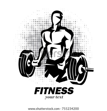 athlete barbell silhouette weight lifting logo のベクター画像素材