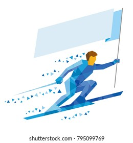 Athlete in blue skiing with empty flag. Standard bearer holding blank banner. Winter sport cartoon character.