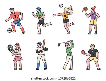 Athlete characters by sport events. flat design style minimal vector illustration
