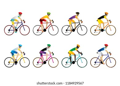 Athlete cyclist isolated on white background. Vector illustration of cycling sport concept