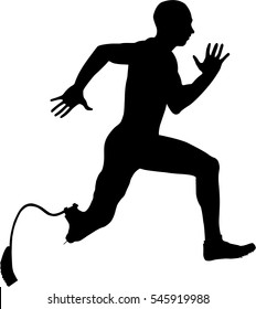 athlete disabled amputee running Illustrator vector
