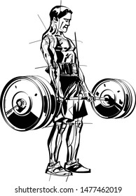 the athlete doing exercise with barbell