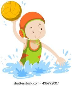Athlete doing water polo illustration
