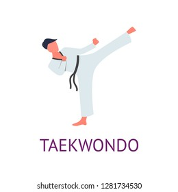 Athlete engaged in martial arts hones tricks and strokes. Practicing pain strokes.
