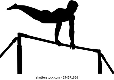 Athlete exercise high bar