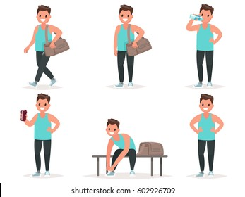 Athlete goes to the gym, drinks water, protein from the shaker. He change clothes for training. Set of poses. Vector illustration in a flat style