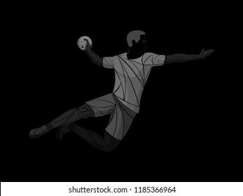 Athlete, handball player sport vector
