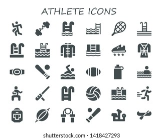 athlete icon set. 30 filled athlete icons.  Simple modern icons about  - Run, Barbell, Swimming pool, Tennis, Wushu, Sport shoe, Judo, Champion belt, Baseball, Swimming, Rugby