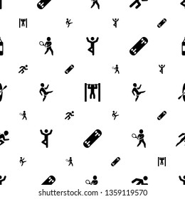 athlete icons pattern seamless white background. Included editable filled man doing exercises, bar tightening, running, tennis playing icons. athlete icons for web and mobile.