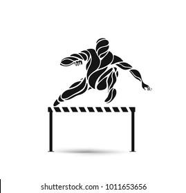 Athlete Jumping a Hurdle, Vector Illustration