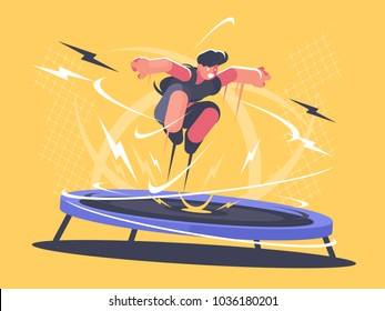 Athlete jumping on trampoline. Sports acrobatics training. Vector flat illustration