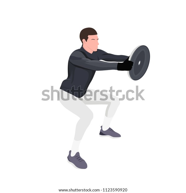 Athlete Lifting Weight Gym Vector Background Stock Vector