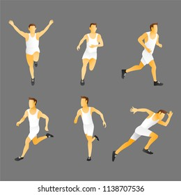 Athlete man. Energetic people runners in sportswear vector set. Sport athlete run and fitness, man runner illustration