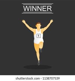 Athlete man. Energetic people runners in sportswear vector set. Sport athlete run and fitness, man runner illustration in winner action