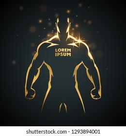 Athlete man gold silhouette