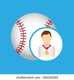 athlete medal baseball icon graphic vector illustration