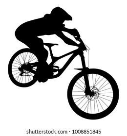 athlete mtb downhill bike black silhouette
