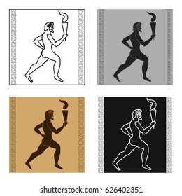 Athlete with olympic fire icon in cartoon style isolated on white background. Greece symbol stock vector illustration.
