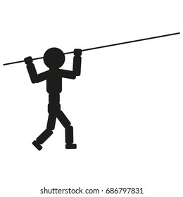 Athlete with pole for jump illustration sign. Vector. Black icon on white background.