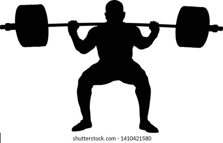 athlete powerlifter squat with barbell
