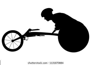 athlete racer on wheelchair racing track black silhouette