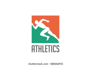 Athlete runner silhouette Logo design vector template. Sport Athletics running icon Negative space style