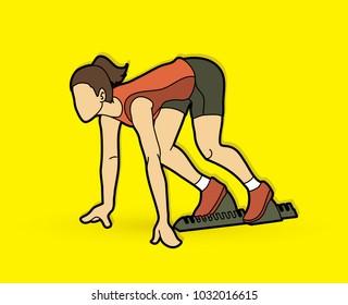 Athlete runner, A woman prepare start running action graphic vector