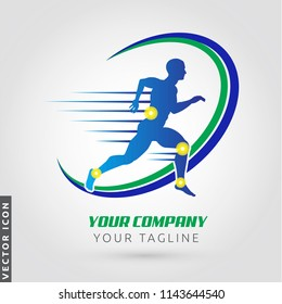 Athlete running silhouette, joint pain symbols, Logo/Icon
