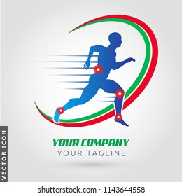 Athlete running silhouette, joint pain symbols, Logo/Icon