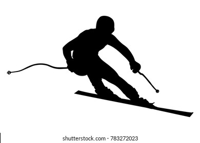 athlete skier super slalom skiing black silhouette