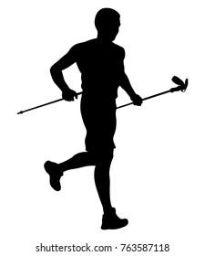 athlete skyrunner with trekking sticks running from mountain vector illustration