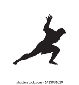 Athlete sportsman silhouette strong male. Vector illustration.