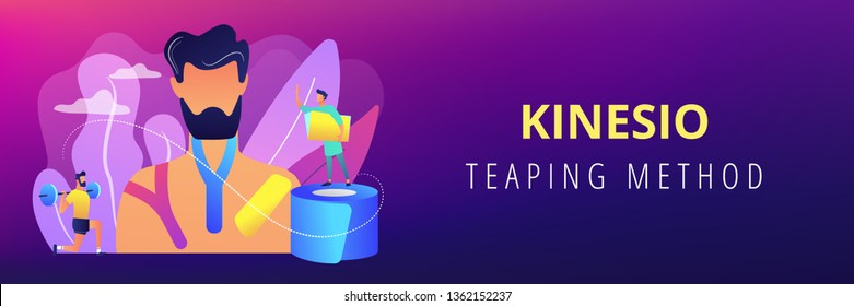 Athlete weightlifting and using kinesiology tape, therapist, tiny people. Kinesiology taping, kinesio taping method, physiotherapy treatment concept. Header or footer banner template with copy space.