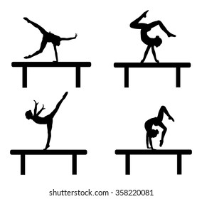 Athlete woman in gym exercise. Ballet girl vector figure isolated on white background. Black silhouette illustration of gymnastic woman. Rhythmic Gymnastics girl perform on the shaft.