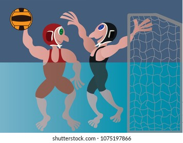 athletes compete in a water volleyball sport
