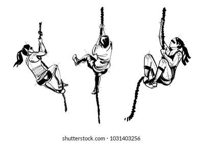 athletes doing climbing rope