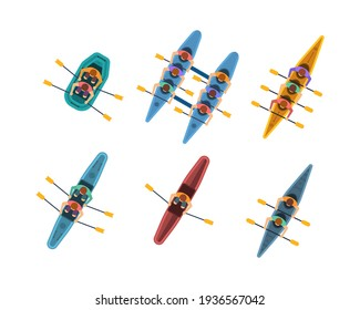 Athletes paddling kayaks, kayaking water sport, outdoor activities in summertime. Rowing top view on white background. Water sports boat team, canoeing and kayaking. Vector illustration in flat style.