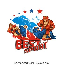 Athletes Sambo wrestlers. Two pairs of athletes wrestlers in red and blue kimono. Vector illustration. Sambo combat.