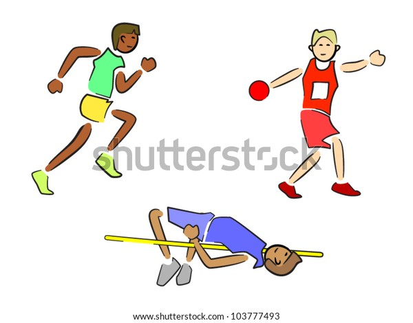 Athletes (Track and Field) - Sprinter/Runner, Discus, High Jump