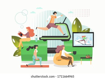 Athletes training on treadmill, with dumbbells in medical center or rehabilitation gym, vector flat illustration. Physiotherapeutic recovery after sport physical injury. Sports medicine and recovery.
