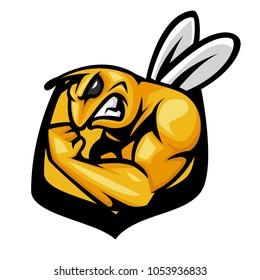 athletic bee mascot logo