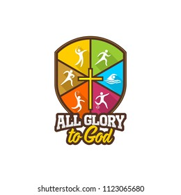 Athletic Christian logo. Various kinds of sports on a multi-colored shield. The cross of Jesus Christ. All glory to God.
