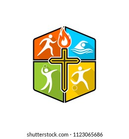 Athletic Christian logo. Various kinds of sports on a multi-colored shield. The cross of Jesus Christ, the flame of the Holy Spirit.