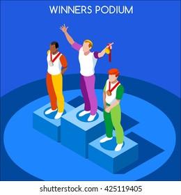 Athletic events victory Podium flat isometric man winner athlete. Sport Athletic podium. Winning Athlete isolated Icon. Athletic event game Winner victory Pedestal Vector People Tokyo