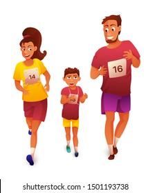 Athletic family training flat vector illustration. Sportive parents participating in race with teenage son. Husband, wife, kid participating in family festival, running competition cartoon character