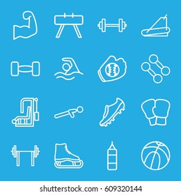 Athletic icons set. set of 16 athletic outline icons such as treadmill, push up, swimming, barbell, muscular arm, soccer trainers, baseball glove, basketball, dumbbell