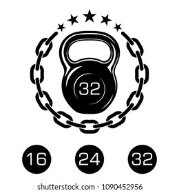 Athletic kettlebell with a metal chain and stars. Sports equipment icons for graphic design of logo, emblem, symbol, sign, badge, label, stamp, isolated on white background. Vector illustration.